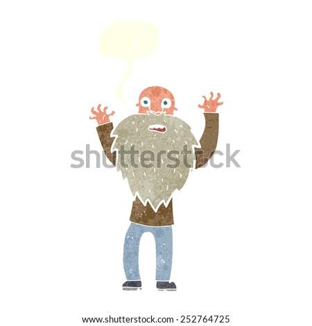 cartoon frightened old man with beard with speech bubble - stock photo