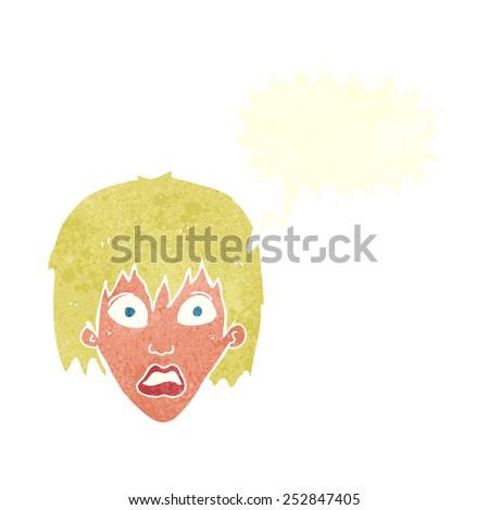 cartoon frightened woman with speech bubble - stock photo