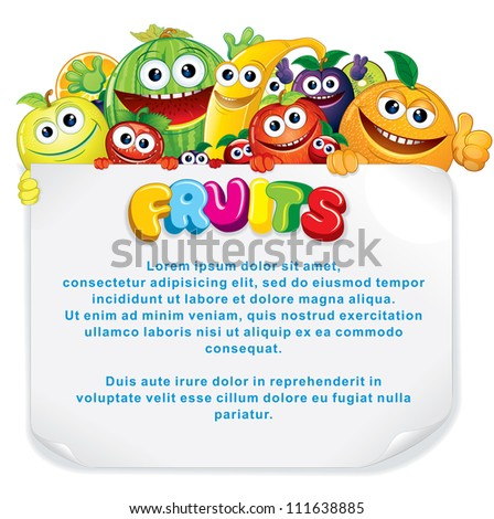 Cartoon Fruits. Funny Banana, Apple, Orange, Strawberry and other are holding a Blank Sign. Illustration - stock photo