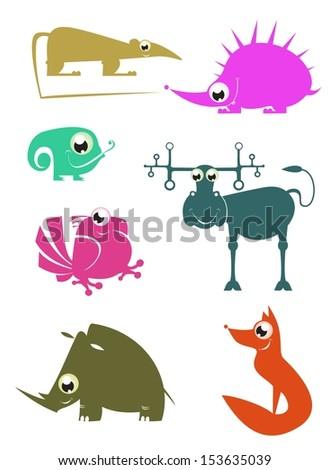 Cartoon funny animals set for design 2 - stock photo