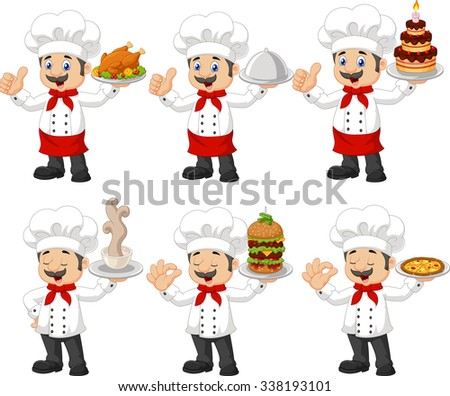 Cartoon funny chef with a moustache holding a silver platter collection set  - stock photo