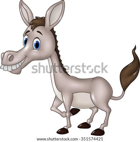 Cartoon funny donkey isolated on white background  - stock photo