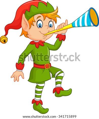 Cartoon funny elf blowing trumpet - stock photo
