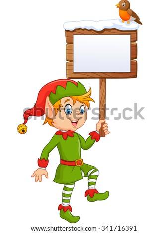Cartoon funny elf boy holding blank sign with robin bird - stock photo