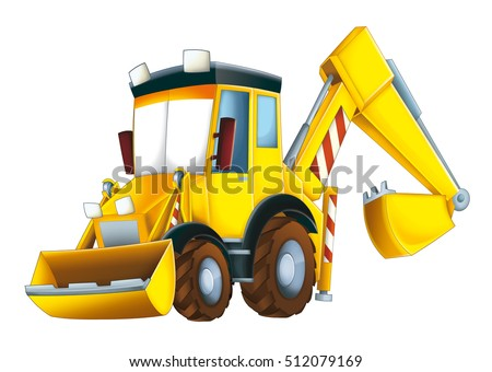 Cartoon funny excavator - isolated - illustration for children