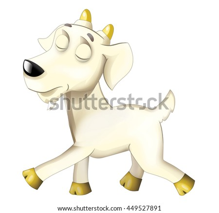 Cartoon funny goat in action - isolated - illustration for children