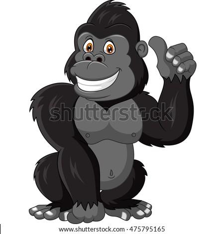 Happy Cartoon Gorilla Face Cartoon-gorilla...