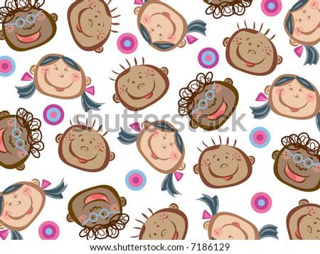 cartoon funny kids pattern (raster) - stock photo