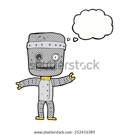 cartoon funny old robot with thought bubble