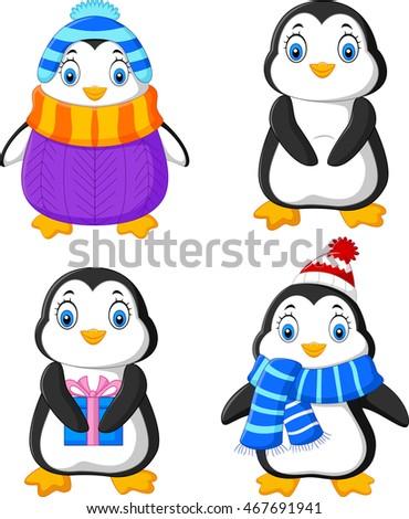Cute Cartoon Penguins Summer Holiday Stock Illustration