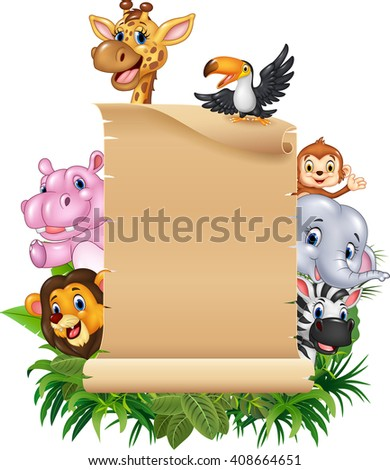 Cartoon funny wild animal africa with blank sign - stock photo