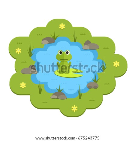 Cartoon Garden Pond Illustration With Water Plants And Animals Isolated Summer Life Clipart