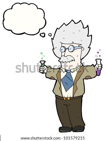cartoon genius scientist - stock photo