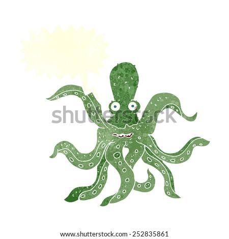cartoon giant octopus with speech bubble - stock photo