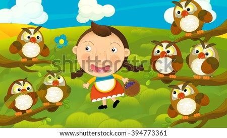 Cartoon girl going for a walk on a field - illustration for the children