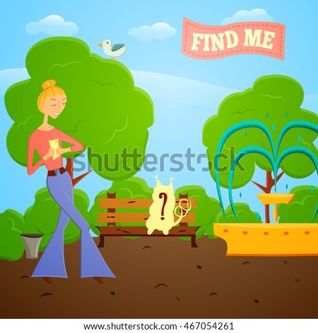 Cartoon girl with mobile phone go searching in global world wide game on a nature. illustration. Fashion girl go try to catch rare animal with mobile app in a park with trees.Game style design.