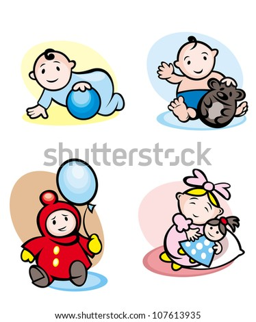 Cartoon girls and boys smiling and playing with toys, such a logo. Vector version also available in gallery - stock photo