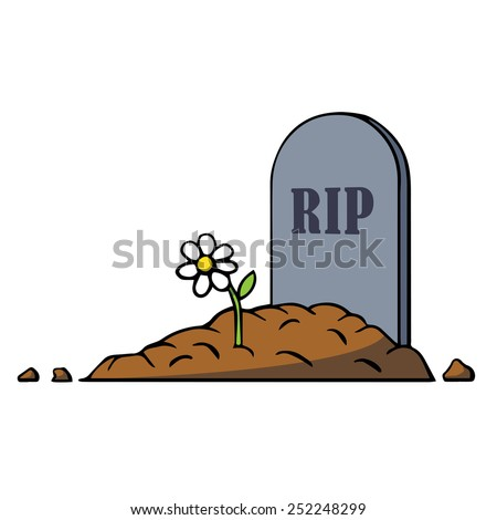 Cartoon grave with tombstone and flower. Illustration. Isolated on white. - stock photo