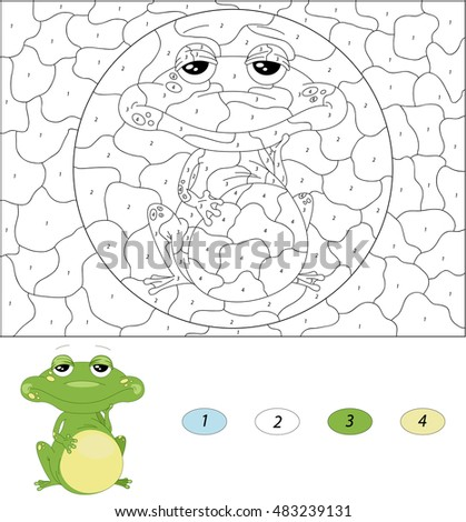 cartoon green frog color by number educational game for kids illustration for schoolchild and
