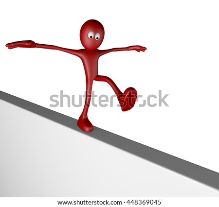 cartoon guy balances on board - 3d rendering - stock photo