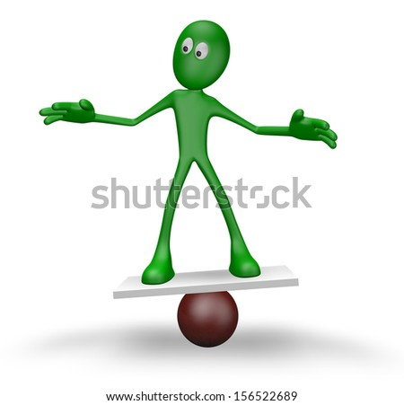cartoon guy balancing on sphere  - 3d illustration