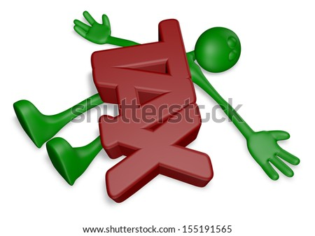 cartoon guy under the word tax - 3d illustration