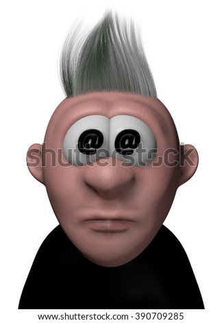cartoon guy with email symbol in his eyes - 3d illustration - stock photo