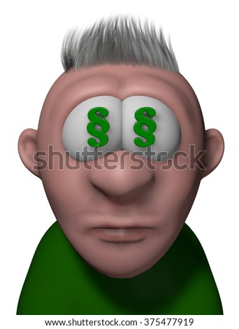 cartoon guy with paragraph symbols in his eyes - 3d illustration