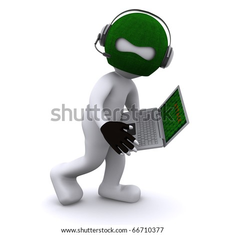 Cartoon hacker with laptop. Isolated - stock photo
