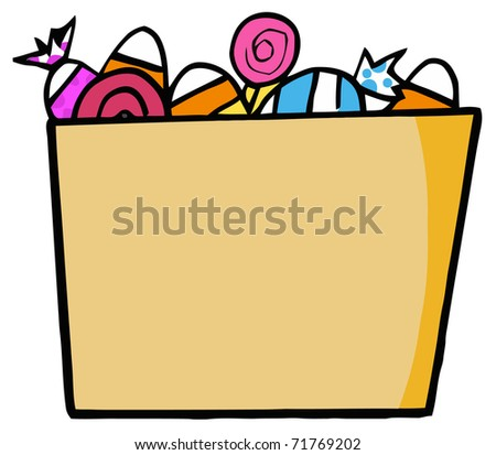 Cartoon Halloween Bucket Of Candy - stock photo