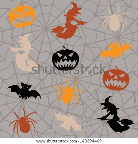 Cartoon Halloween seamless background with colorful figures. Raster version.