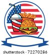 Cartoon Hamburger Drink And French Fries In Front Of Flag Of USA - stock