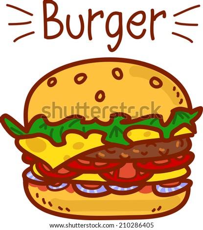 Cartoon hamburger on white with the inscription - stock photo