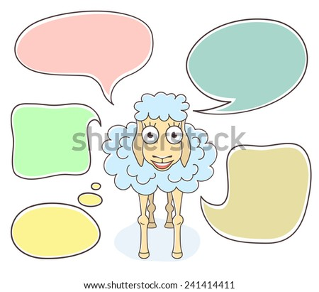 Cartoon hand drawn illustration of a happy sheep with colorful speech bubbles. New Year character. Isolated on white. Chinese horoscope symbol of 2015  - stock photo