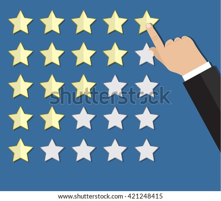 cartoon hand gives a five star arating. voting, user review, feedback concept. illustration in flat design on blue background Raster version - stock photo