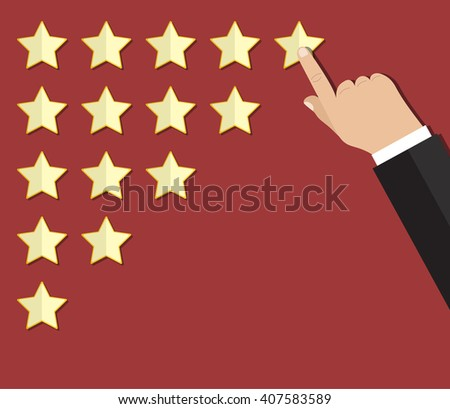cartoon hand gives a star rating. voting, user review, feedback concept. illustration in flat design on red background Raster version - stock photo