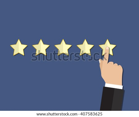 cartoon hand gives a star rating. voting, user review, feedback concept. illustration in flat design on blue background Raster version - stock photo