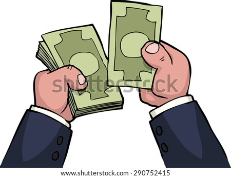 Cartoon hands feel the money raster version - stock photo