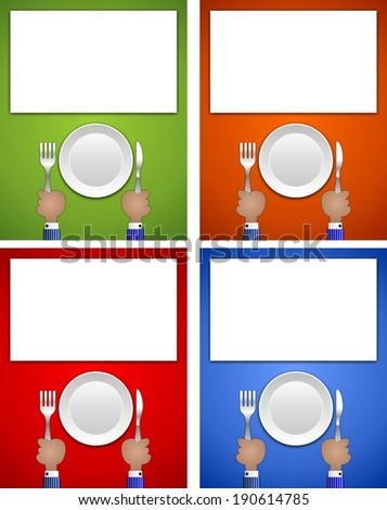 Cartoon hands holding fork and knife with plate ideal for sign or advertising
