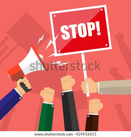 Cartoon hands of demonstrants and hand with Megaphone and stop sign, protest concept, revolution, conflict, illustration in flat design on red background - stock photo
