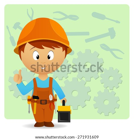 Cartoon handyman with tools on industry background - stock photo