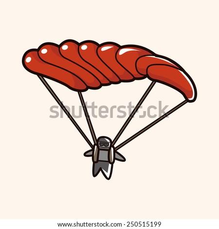 cartoon Hang gliding   - stock photo