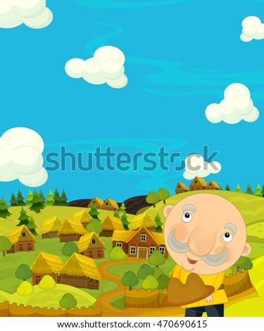Cartoon happy and colorful scene with traditional character - historical look - illustration for children