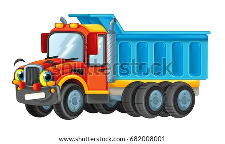 Cartoon Happy Cargo Truck Looking Smiling Stock Illustration ...