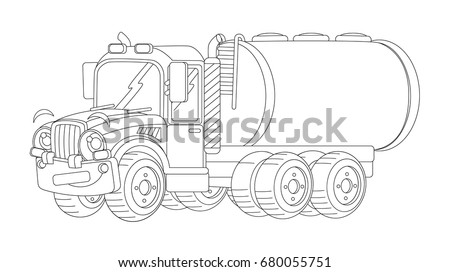 cartoon happy cargo truck with tank coloring page illustration for children