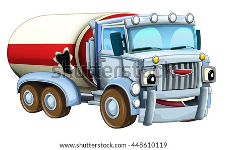 Cartoon happy damaged truck - isolated - illustration for children
