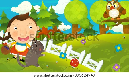 Cartoon happy girl with her friend cat on the meadow - having fun and seeing owl - illustration for children