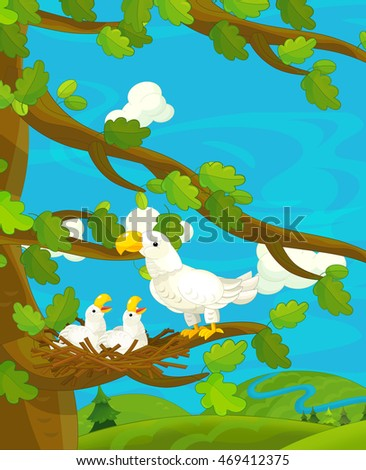 Cartoon happy nature scene with eagles in the nest - illustration for children