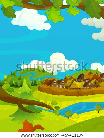 Cartoon happy scene with wooden houses - scene for different usage - illustration for children