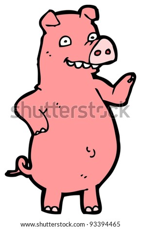 cartoon happy waving pig (raster version)
